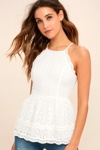 Be True White Lace Peplum Top