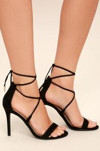 Aimee Black Suede Lace-Up Heels