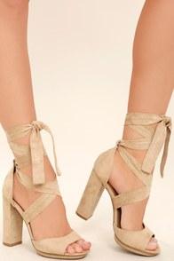 Dorian Natural Suede Lace-Up Platform Heels