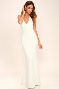Love Potion Ivory Lace Halter Maxi Dress