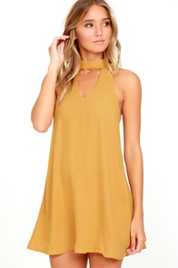 Groove Thing Golden Yellow Swing Dress