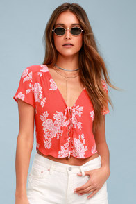 Flying High Coral Red Floral Print Crop Top