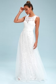 Sonnet White Lace Backless Maxi Dress