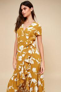 Vineyard Vacation Dark Yellow Floral Print High-Low Wrap Dress