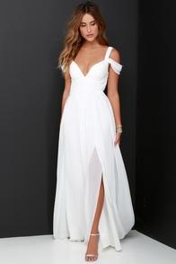 Ocean of Elegance Ivory Maxi Dress