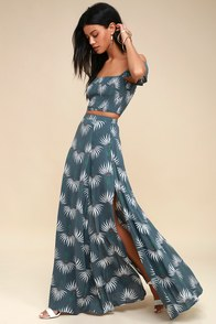 Trancoso Dusty Blue Floral Print Two-Piece Maxi Dress at Lulus.com!