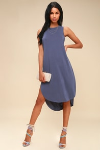 Midnight Lady Washed Denim Blue Midi Dress at Lulus.com!