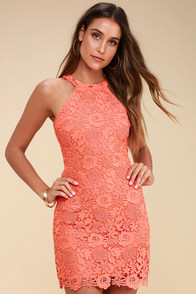 Love Poem Coral Orange Lace Dress at Lulus.com!