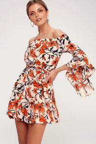 Blushing Blooms Nude Floral Print Off-the-Shoulder Dress at Lulus.com!