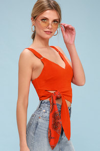 Paisley Pop Red Orange Cropped Tank Top at Lulus.com!