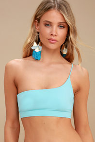 Scarlett Light Blue One-Shoulder Bikini Top at Lulus.com!