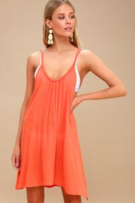 Carter Coral Orange Swim Cover-Up at Lulus.com!