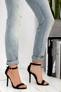 Elsi Black Single Strap Heels