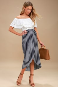 Start Anew Blue And White Striped Wrap Midi Skirt at Lulus.com!