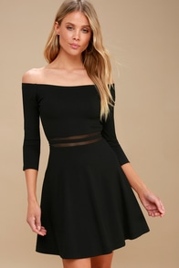 Yes To The Mesh Black Skater Dress at Lulus.com!
