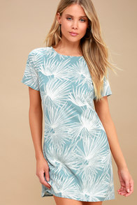 Cancun Calling Dusty Sage Print Shift Dress at Lulus.com!