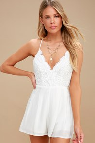 Star Spangled Ivory Backless Lace Romper at Lulus.com!