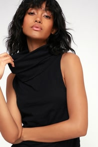 Summer Thing Black Sleeveless Cowl Neck Top at Lulus.com!