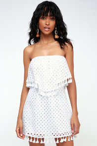 Leighton White Eyelet Strapless Mini Dress at Lulus.com!