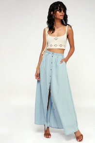 Baez Blue Chambray Maxi Skirt at Lulus.com!