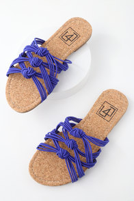 Ink Blue Knotted Slide Sandals at Lulus.com!