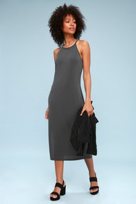 Lira Charcoal Grey Midi Dress at Lulus.com!
