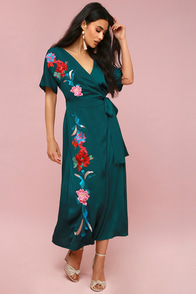 Josephina Forest Green Embroidered Wrap Maxi Dress at Lulus.com!