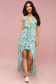 Glenwood Aqua Floral Print High-Low Maxi Dress