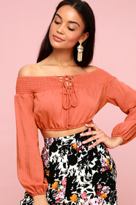 Crazy A-Boat You Terra Cotta Lace-Up Off-the-Shoulder Top