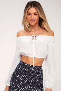 Crazy A-Boat You White Lace-Up Off-the-Shoulder Top