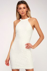 Joie de Vivre White Lace Halter Bodycon Dress