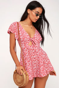 Dondi Red And White Print Romper at Lulus.com!