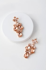 Bound to Wow Rose Gold and Pink Rhinestone Earrings