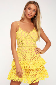Beauty And Lace Yellow Crochet Lace Mini Dress at Lulus.com!