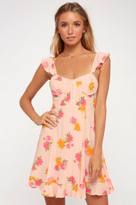 Brianne Pink Floral Print Bustier Mini Dress