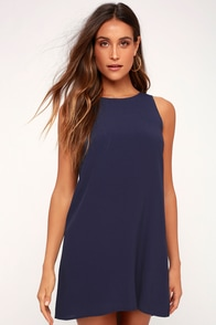 Sassy Sweetheart Navy Blue Shift Dress at Lulus.com!