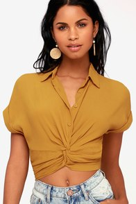 Cali Coastline Mustard Yellow Button-Up Knotted Crop Top
