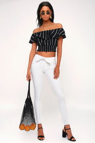 Hoxton White Tie-Front High-Waisted Skinny Jeans at Lulus.com!