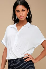 Addington White Twisted High-Low Button-Up Top