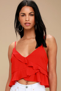 Bravado Red Ruffled Crop Top