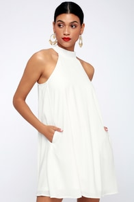 Love Of Mine White Halter Swing Dress at Lulus.com!