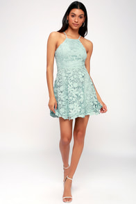 Love in the Air Mint Blue Lace Skater Dress