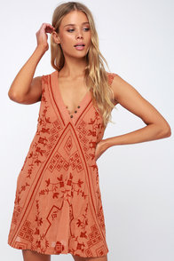 Sweetest Shifty Terra Cotta Embroidered Shift Dress at Lulus.com!