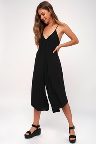 Feeling Groovy Black Culotte Jumpsuit at Lulus.com!