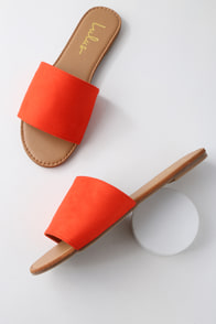 Addison Orange Suede Slide Sandals at Lulus.com!