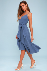 Manhattan Moment Blue Ruffled Midi Wrap Dress at Lulus.com!
