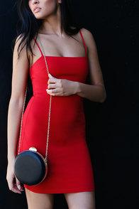 Serena Black Round Clutch