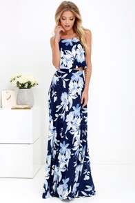 Love for Lanai Navy Blue Floral Print Two-Piece Maxi Dress