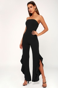 After Midnight Black Strapless Ruffle Leg Jumpsuit at Lulus.com!
