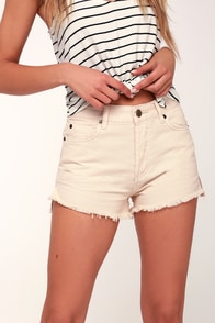 Shoreline Beige High-Waisted Denim Shorts at Lulus.com!
